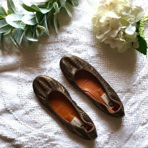 Lanvin Brown Metallic Lizard Ballet Flats 38.5 7.5